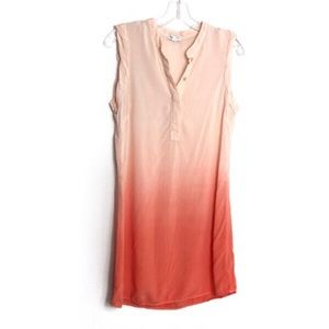 Splendid Orange Ombre Sleeveless Shirt Dress Small